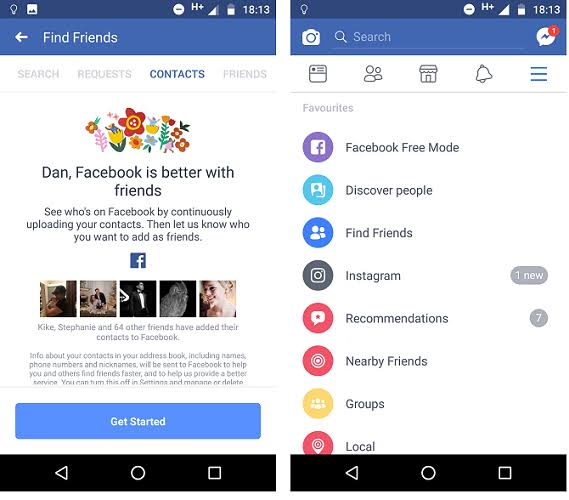 How can you access facebook contacts from Gmail account